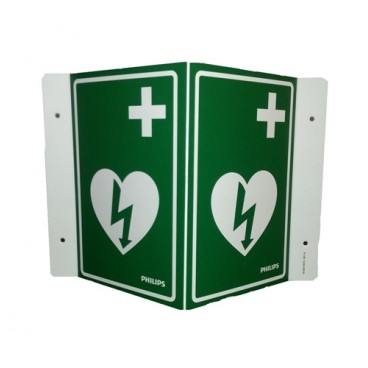 AED Wall Sign - International - Green (can be mounted 3 ways)