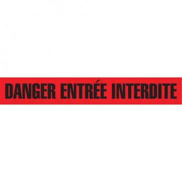 Barricade Tape- DANGER / ENTRÉE INTERDITE  - BLACK ON RED